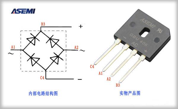 的作用也是将交流电流装换成直流电流,那么与单相整流桥的区别是采用6颗芯片的结构,可以完成对三相交流电的整流工作。 实际应用当中因为每个二极管实际耐压,通过电流,压降等等情况是不一样,如果我们使用这种连接方式,电路当中很容易发生问题甚至导致桥堆的永久损坏。  一般来说,我们在设计测试时认定一个封装内的两个二极管是一模一样的,可以实现均匀分流的效果,所以我们实际应用当中要实现整流桥的并联。  同单相整流桥电路图一样需要注意的是6颗二极管芯片极性不能错误放置,否则电路一样不能正常工作。 下图为台湾ASEMI品牌